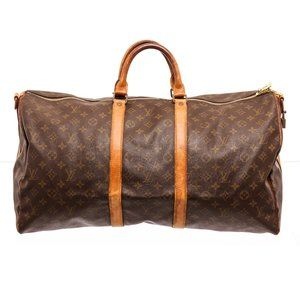 Louis Vuitton Canvas Leather Keepall Duffle Bag